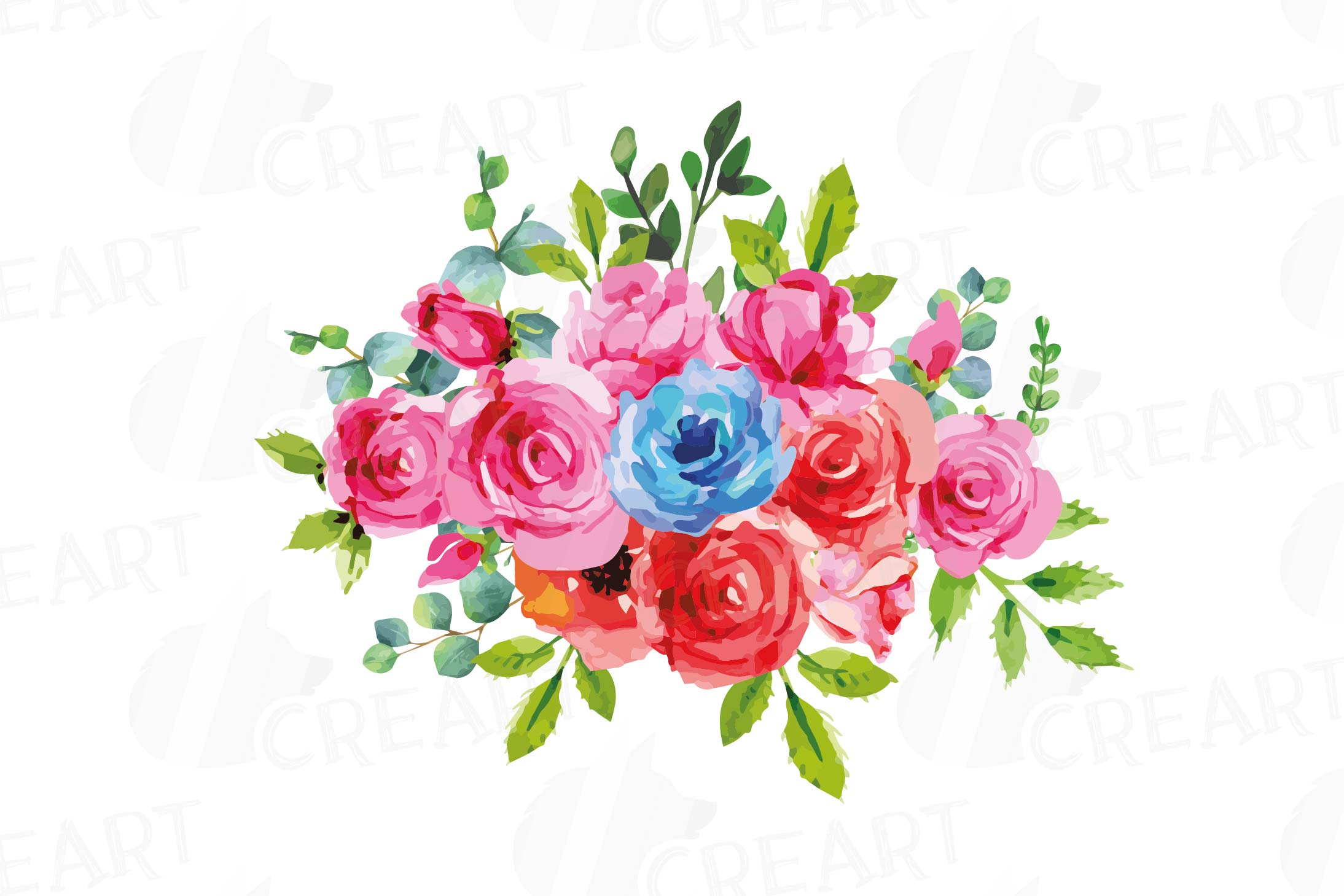 Boho pink and blue watercolor wedding bouquets, floral png example image 3