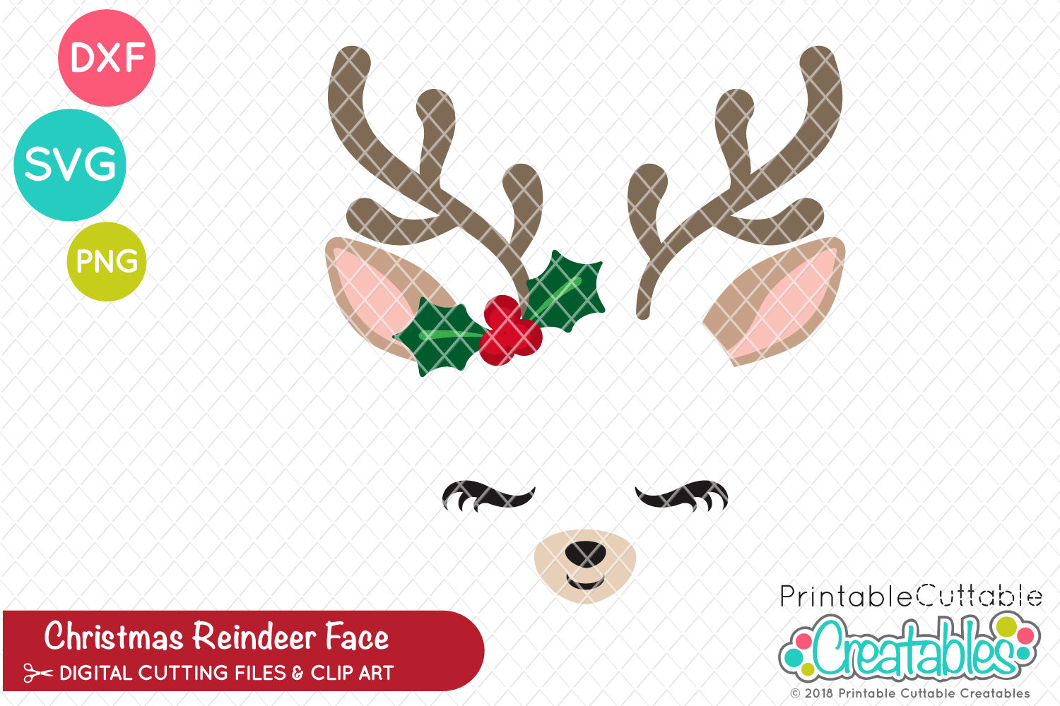 graphic relating to Printable Reindeer Face titled Xmas Reindeer Deal with SVG
