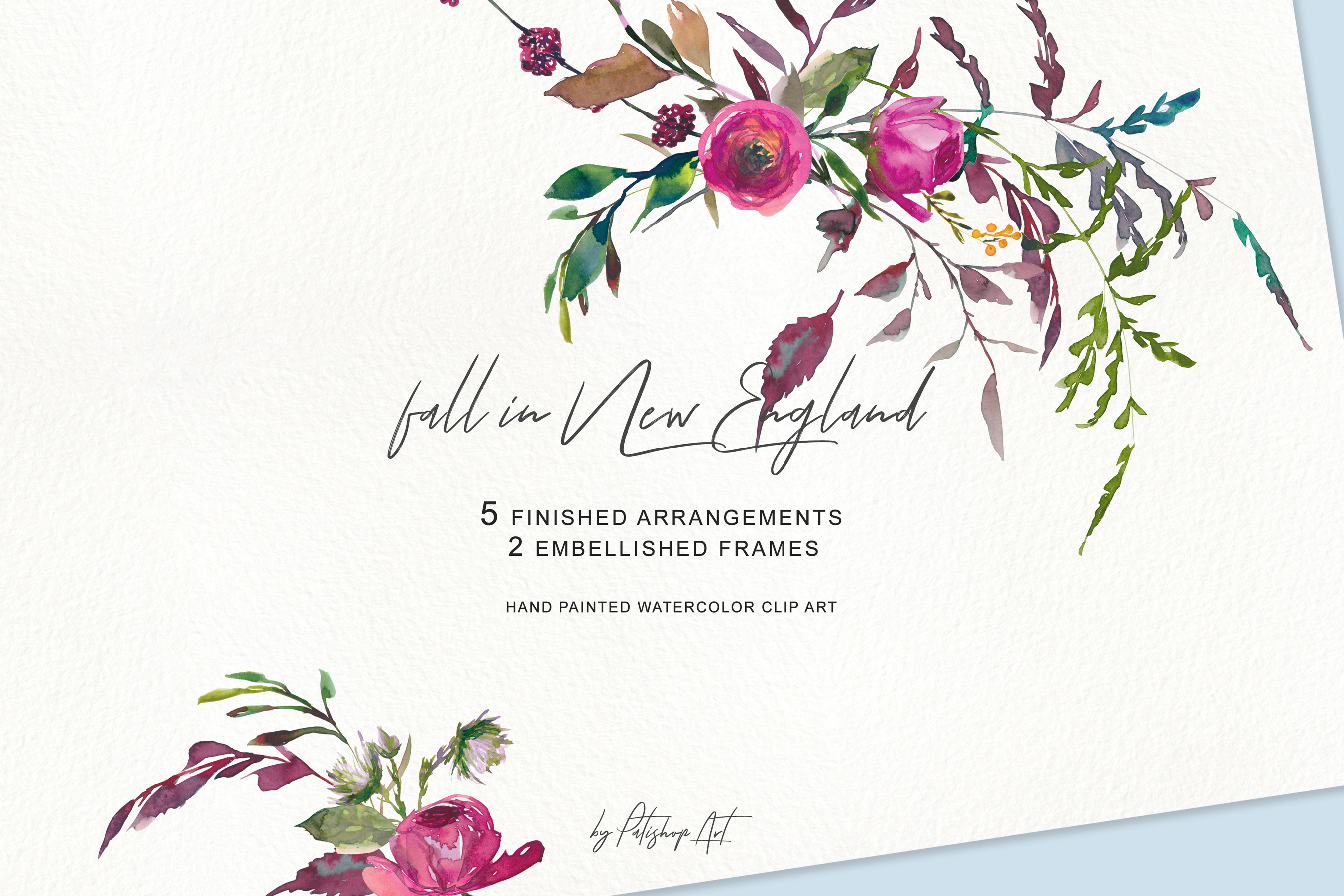 Watercolor Fall Twigs Herbs Flowers Arrangements Clipart example image 4
