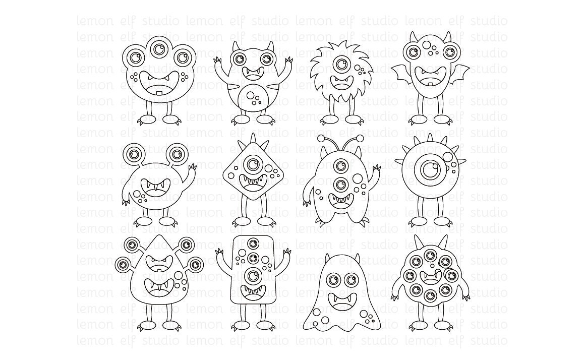Silly Monsters-Digital Stamp (LES.DS03) example image 1