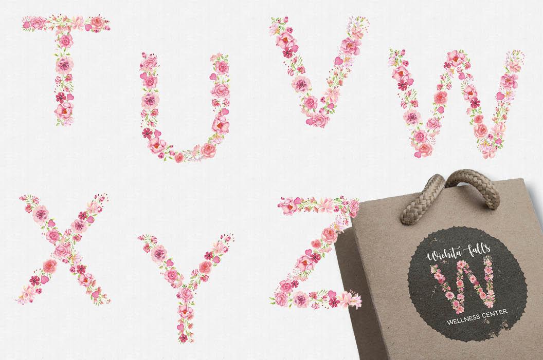 Pink floral alphabet in watercolors plus FREEBIE example image 5
