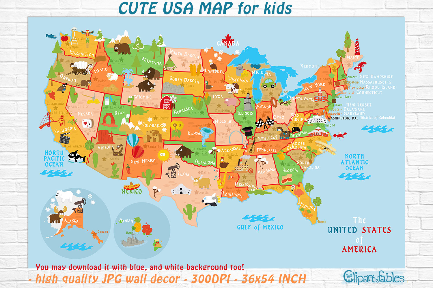 Map Of Georgia For Kids.Cute Printable Usa Map For Kids Gender Neutral Room Decor