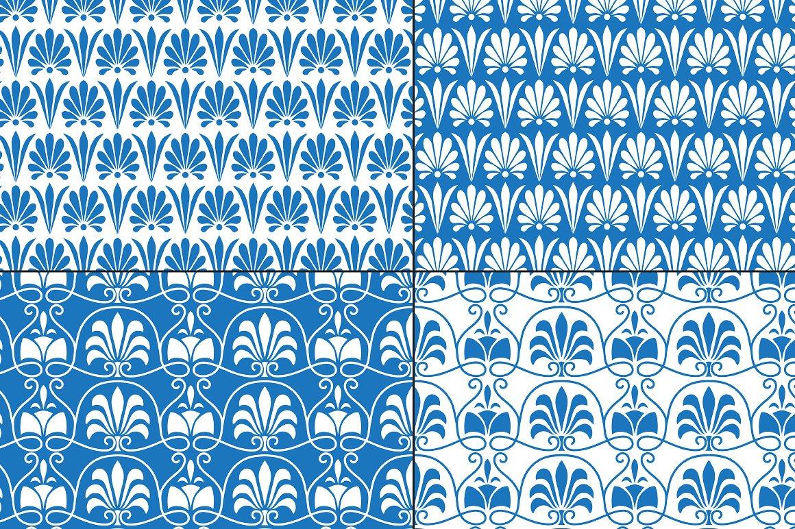 Blue White Greek Ornamental Patterns example image 3