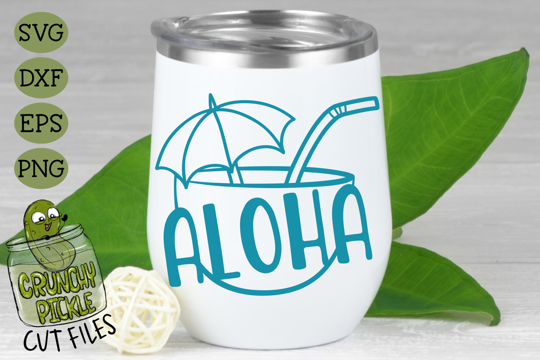 Aloha Coconut Drink Summer Beach SVG Cut File example image 1