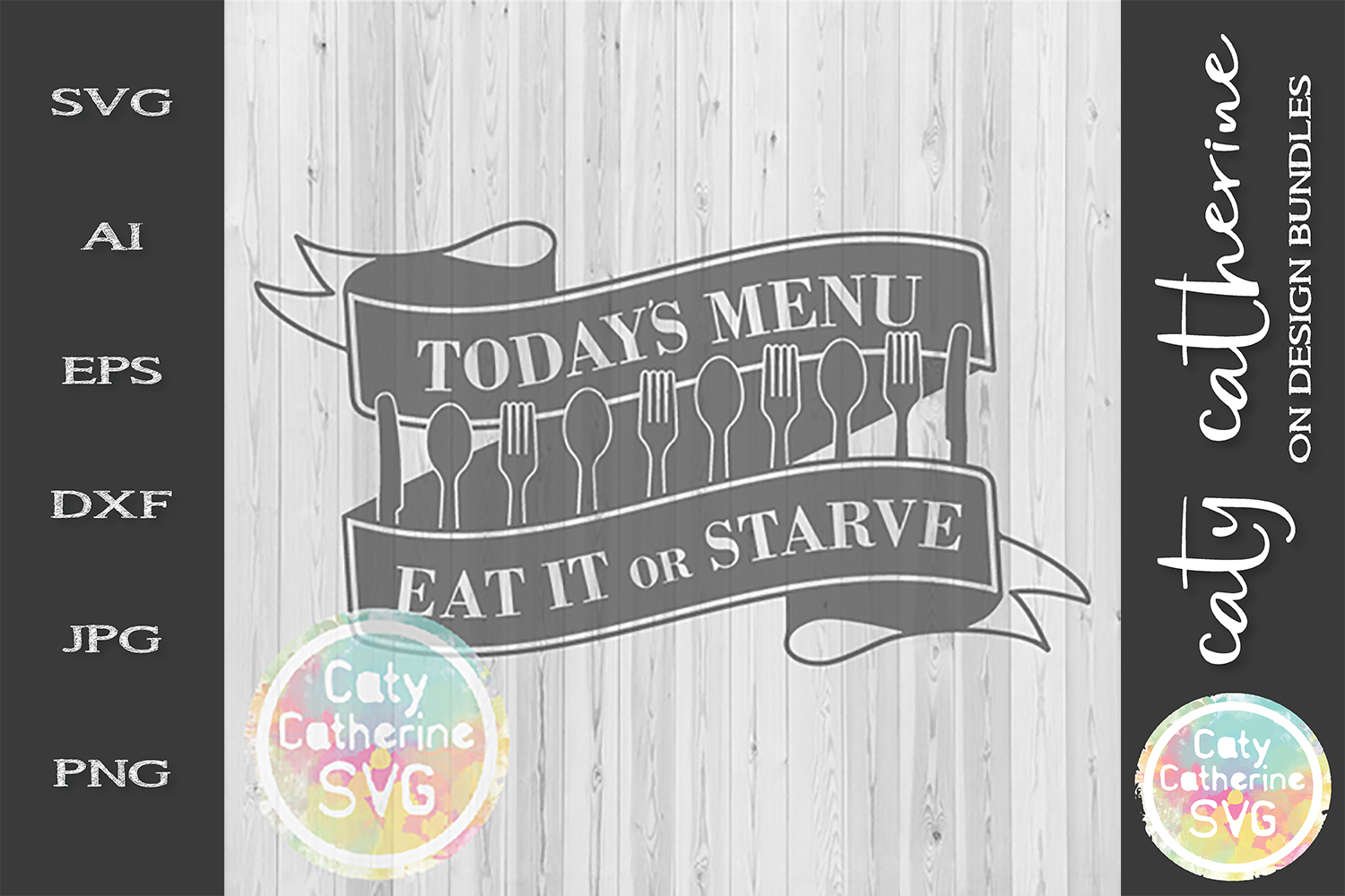 Today's Menu Take It Or Starve SVG Cut File Funny Kitchen example image 1