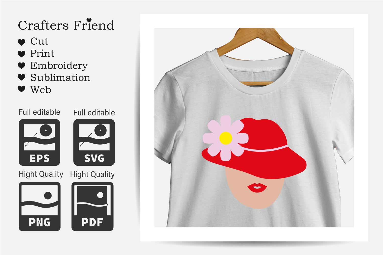 Women with Red Hat - Cut File for Crafter example image 4