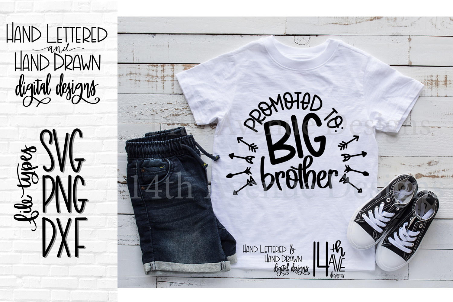 Promoted To Big Brother SVG, Hand Lettered, Big Brother, P example image 1