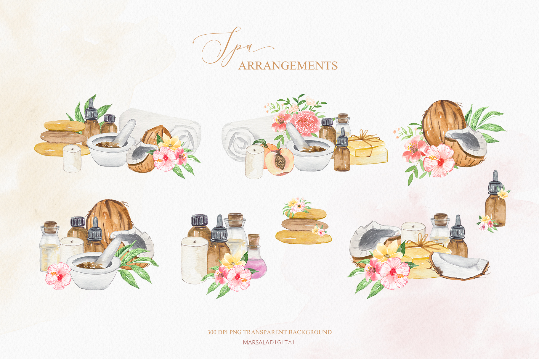 Watercolor Spa Illustrations Clipart Essential Oil, Tropical example image 3