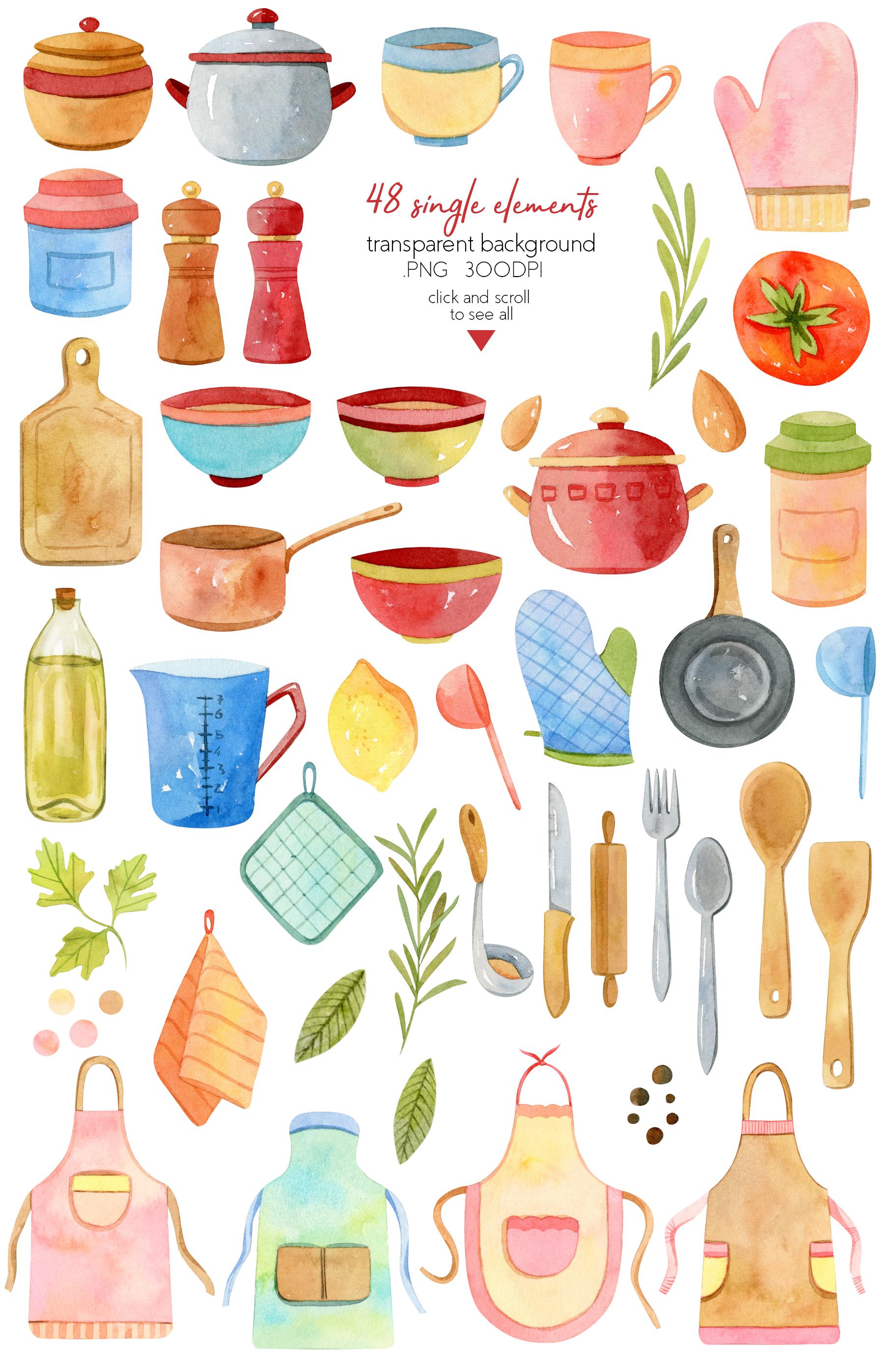 Watercolor Kitchen Utensils Set 2 example image 2