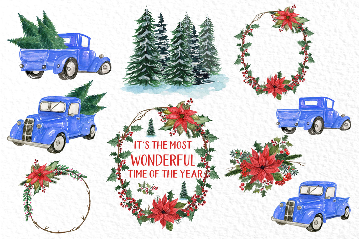 Watercolor Christmas cars clipart, Poinsettias Wreaths example image 2