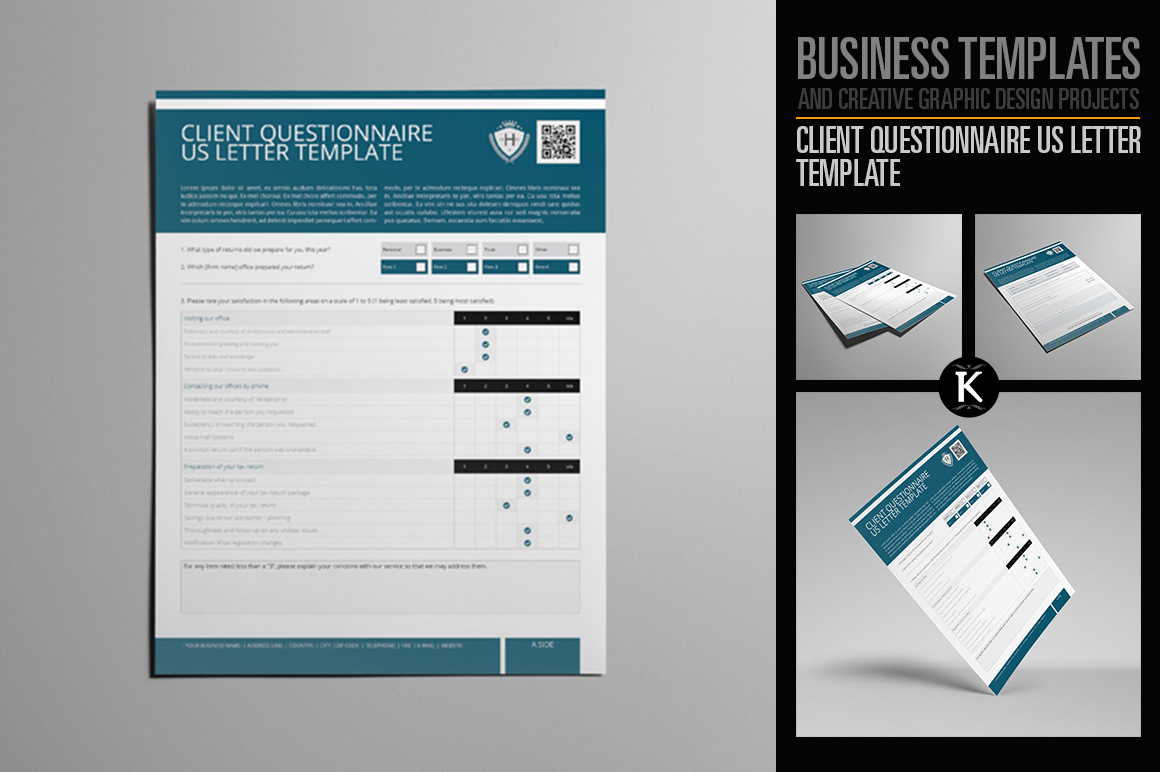 Client Questionnaire US Letter Template example image 1