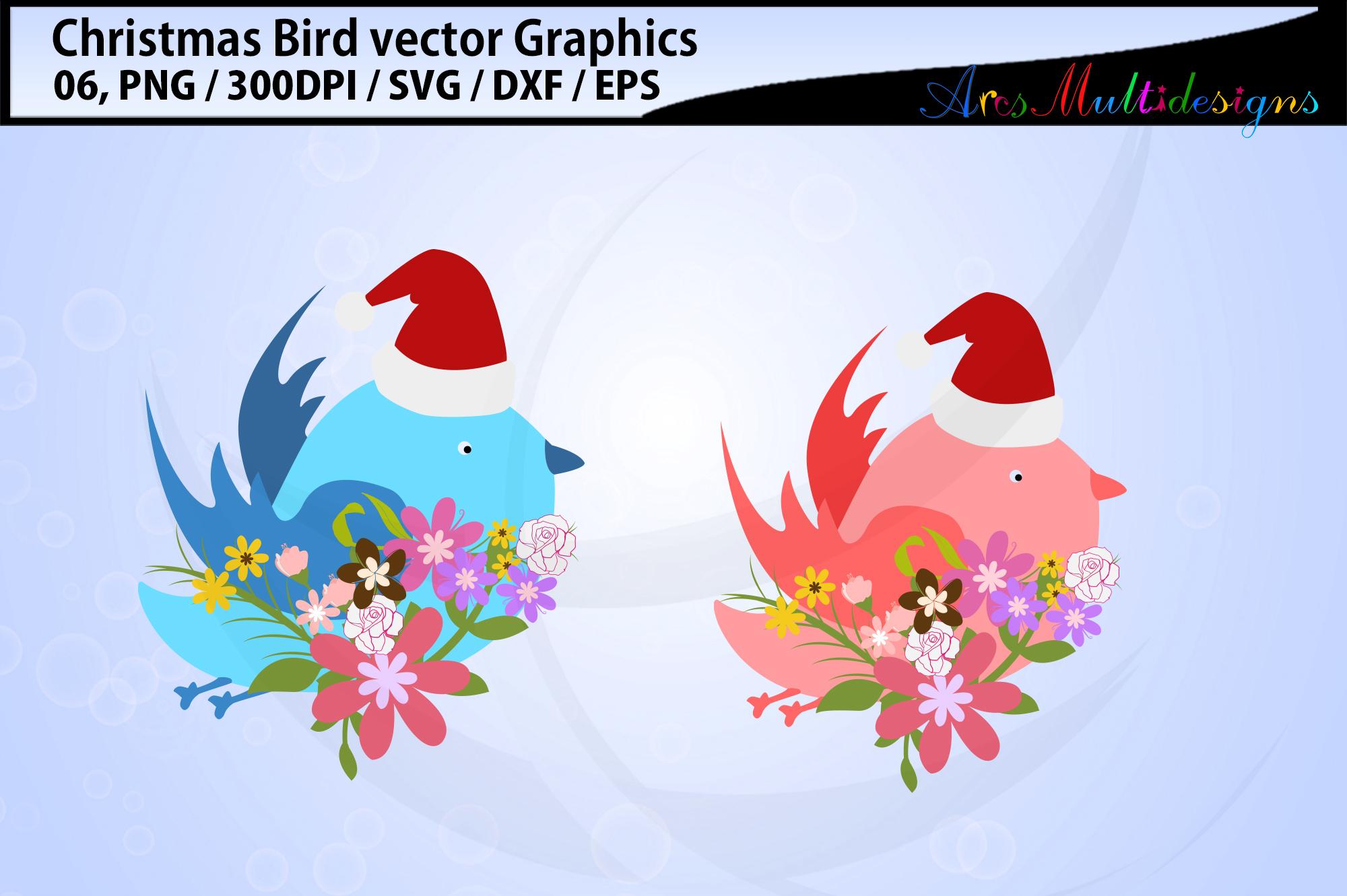 Christmas Birds svg / Christmas love birds svg / floral bird example image 2