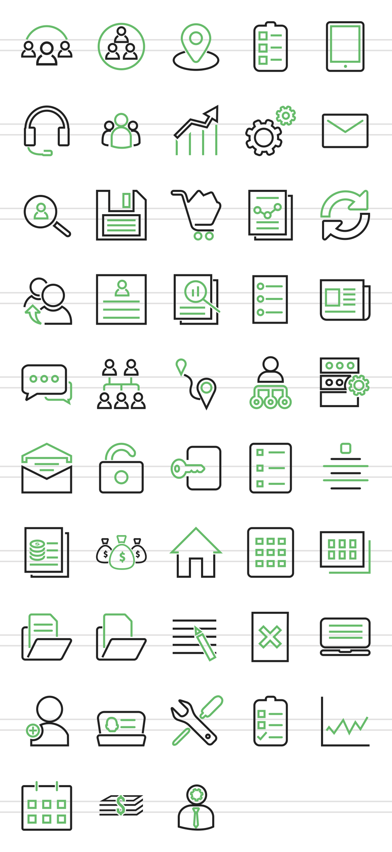 48 Admin Dashboard Line Green & Black Icons example image 2