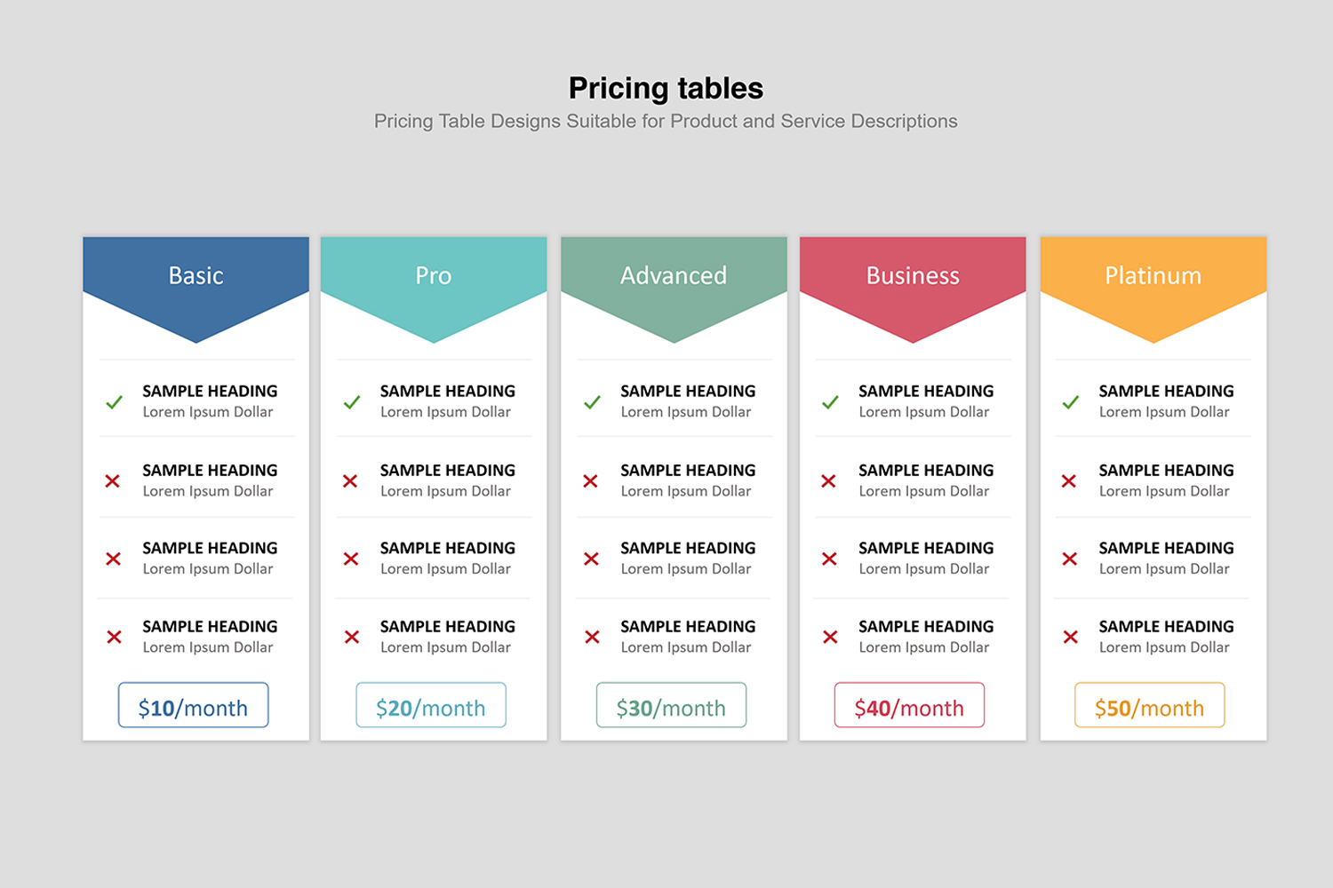 Price Table  Infographic Presentation example image 2