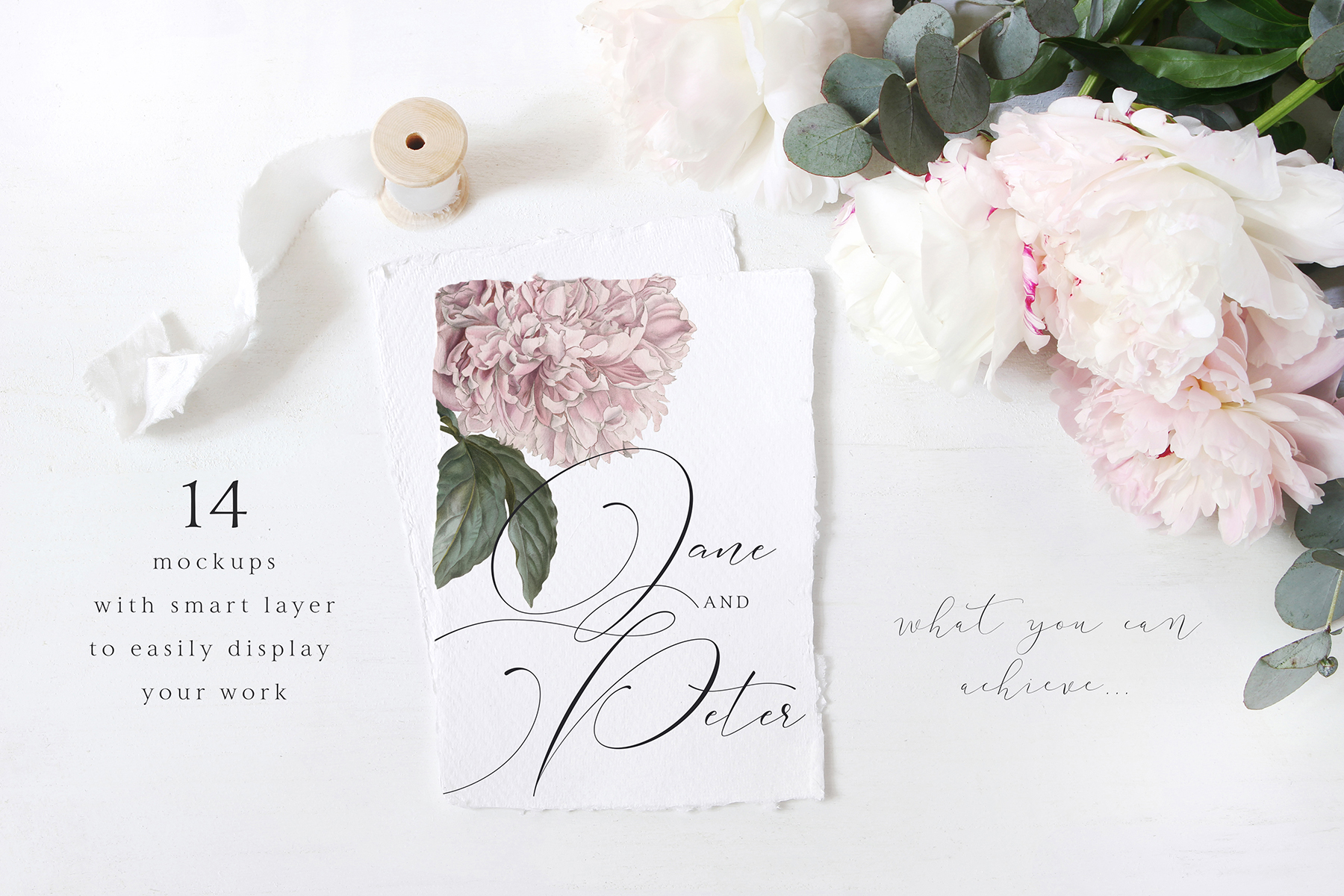 Vintage peony wedding mockups & stock photo bundle example image 2