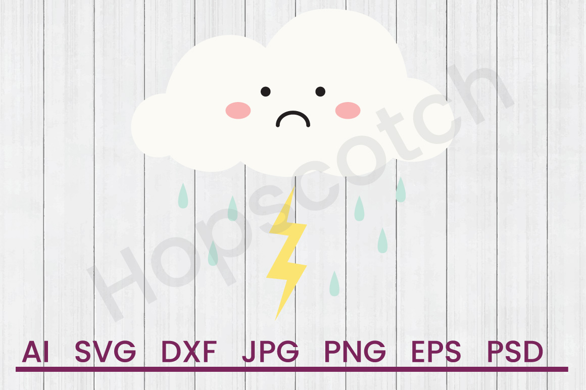 Cloud SVG, Thunderstorm SVG, DXF File, Cuttatable File example image 1