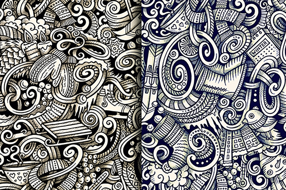 Winter Graphic Doodles Patterns example image 5