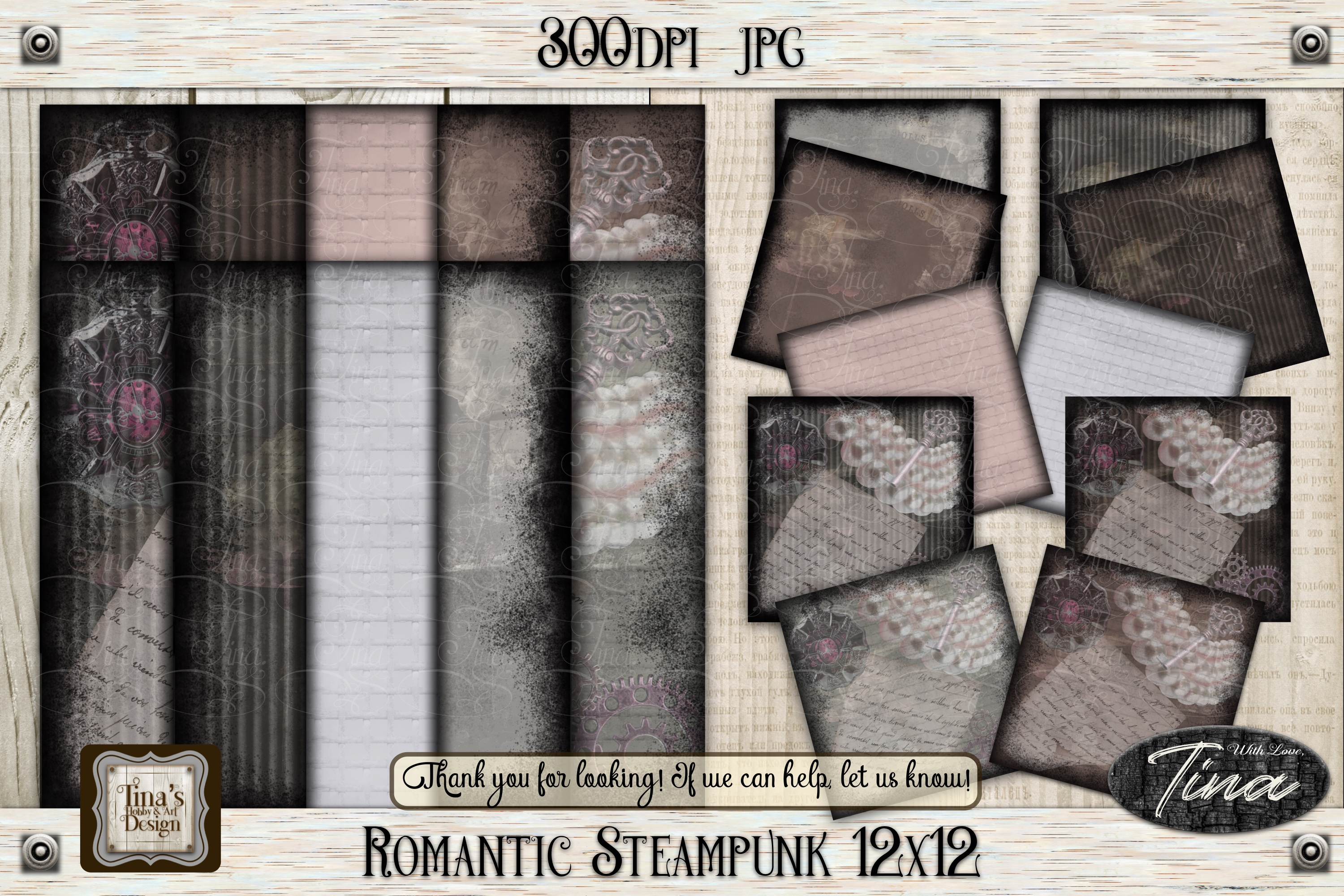Romantic Steampunk 12 x 12 Collage Mauve Grunge 101918RS12 example image 1