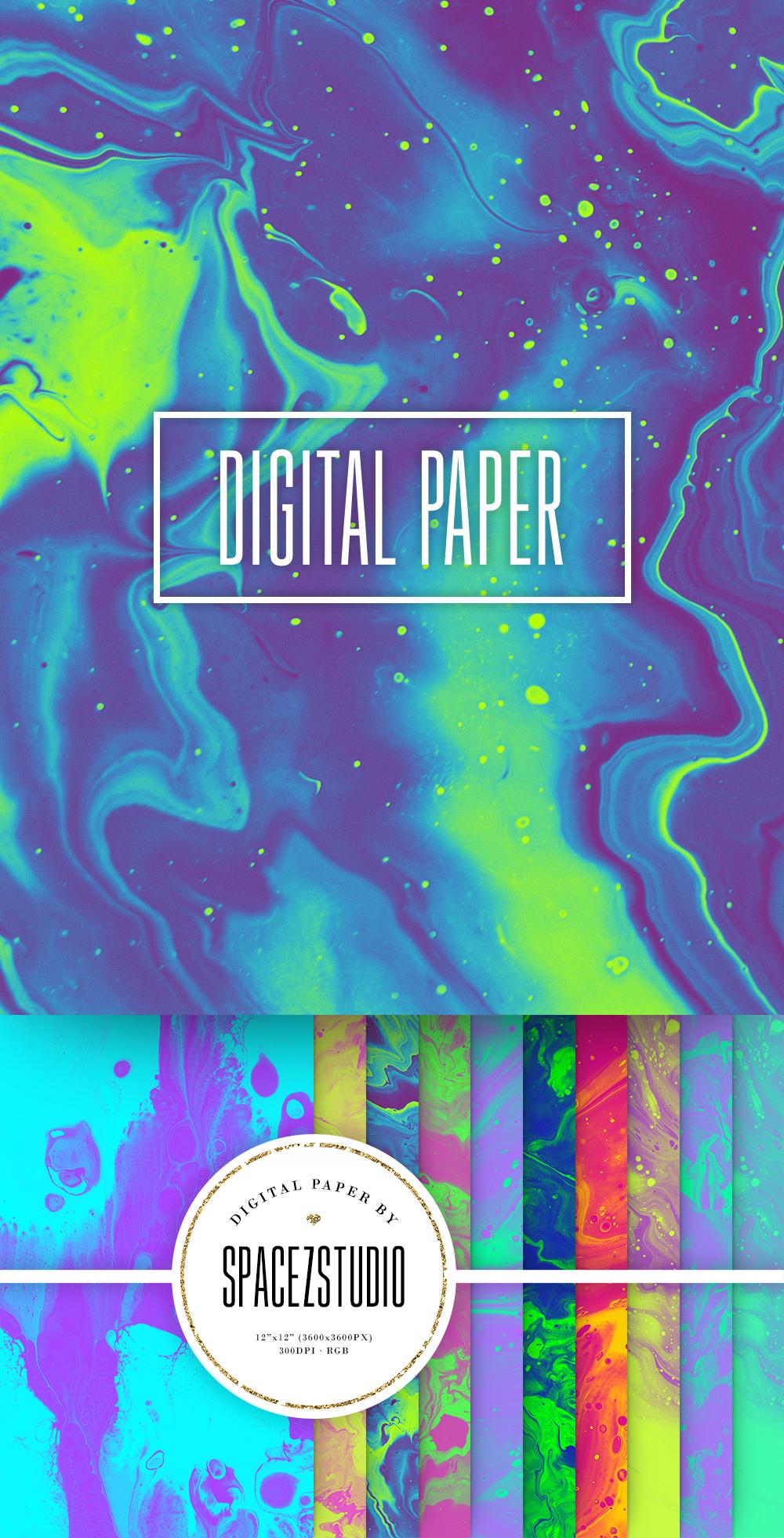 Neon Ink Backgrounds - Abstract Neon Liquid Digital Paper example image 6
