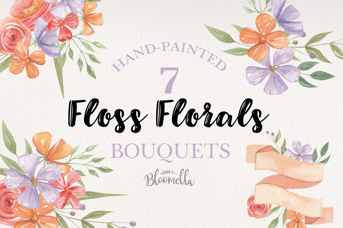 Floss Florals 7 Bouquets Watercolor Florals Purple Orange example image 1