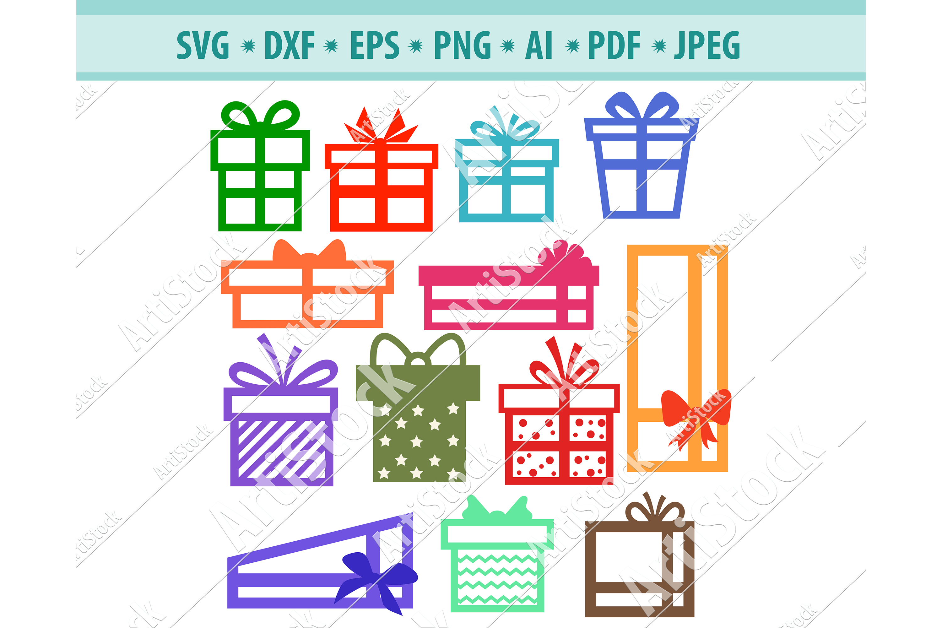 Christmas Gift Svg, Ribbons Svg, Presents SVG, Dxf, Png, Eps example image 1