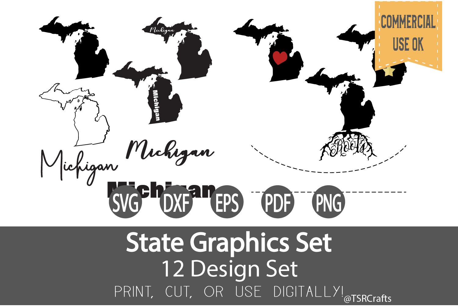 Michigan State Graphics Set - Clip Art and Digital Cut example image 1