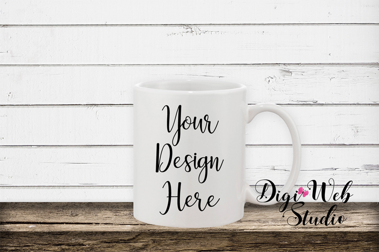 Mockup Bundle -White Rustic Shiplap Wood Signs, Pillow & Mug example image 6
