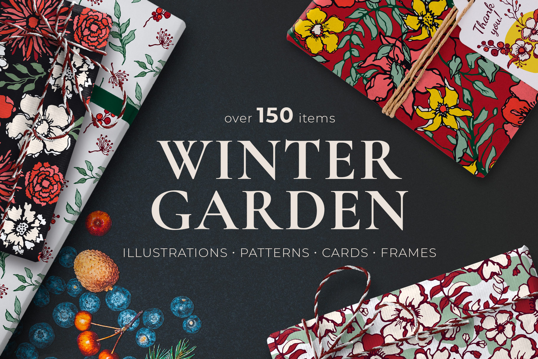 Winter Floral Patterns & Illustrations example image 1