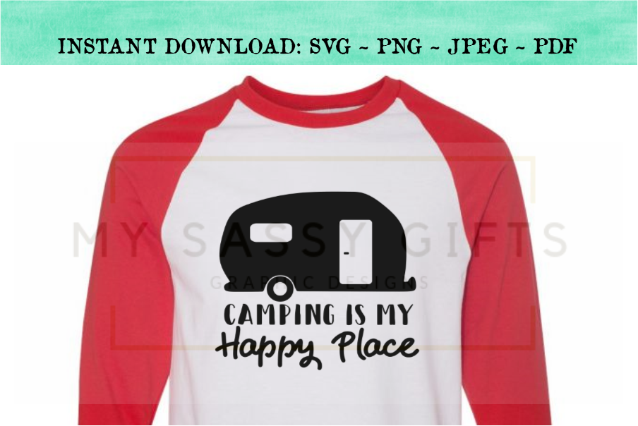 Camping Is My Happy Place SVG Design example image 4