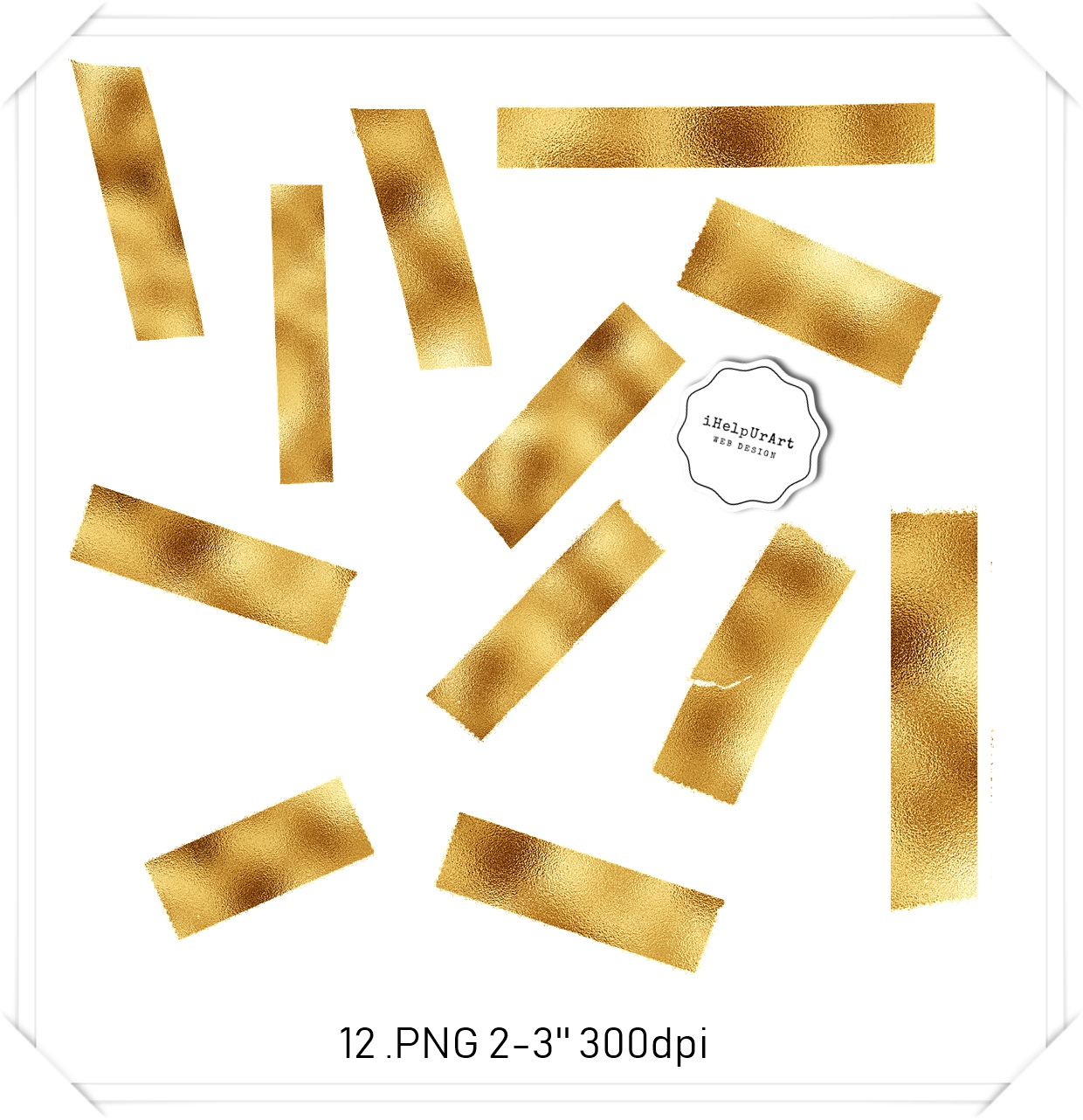 Gold foil washi tape clipart  example image 2