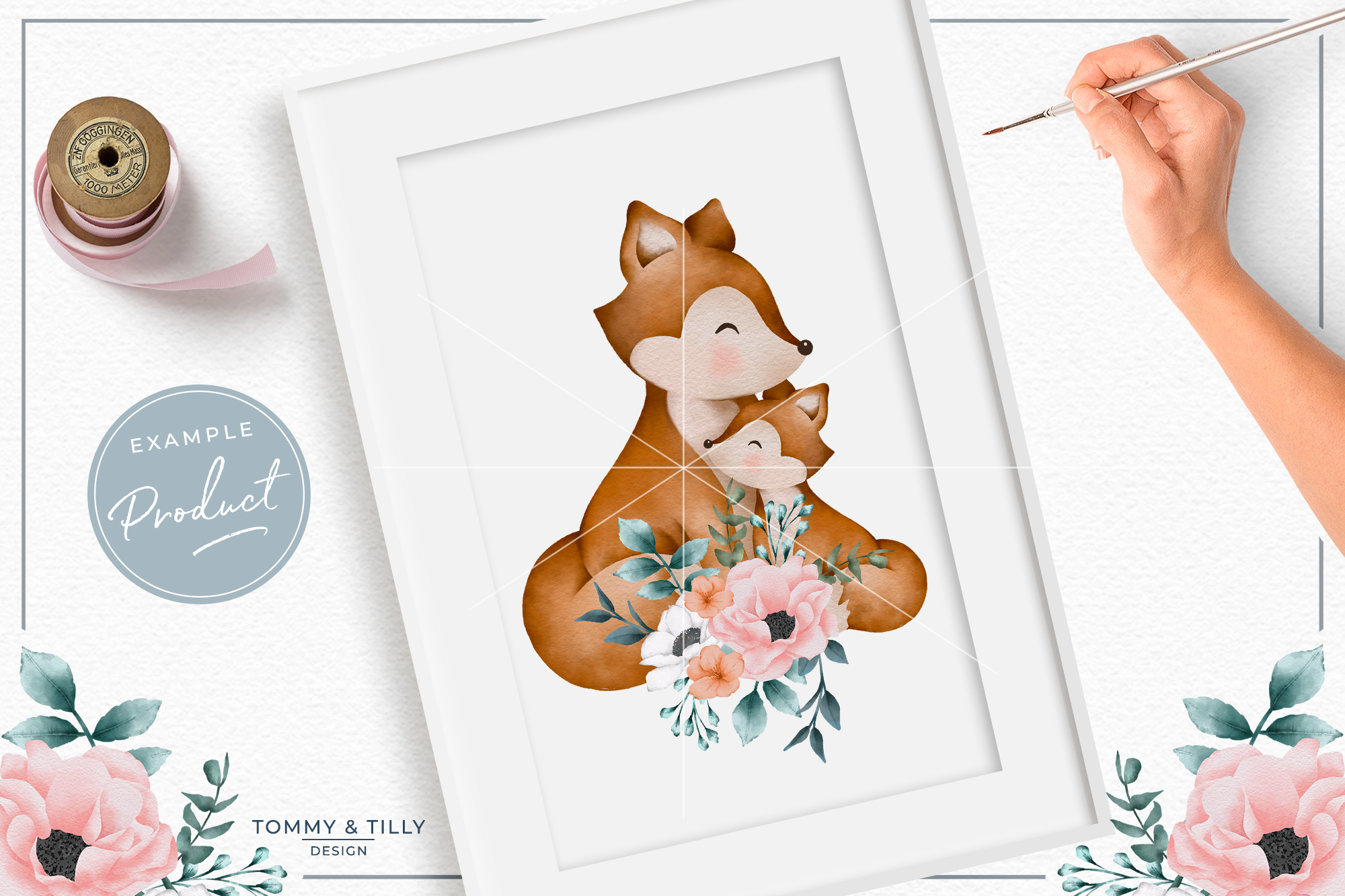 Floral Mummy and Baby Fox - Sublimation PNG Clipart example image 3