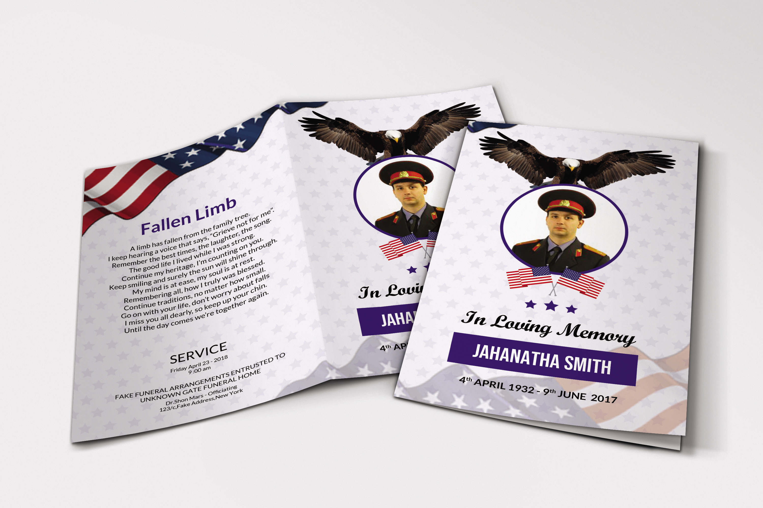 Funeral Program Template Military Army example image 1