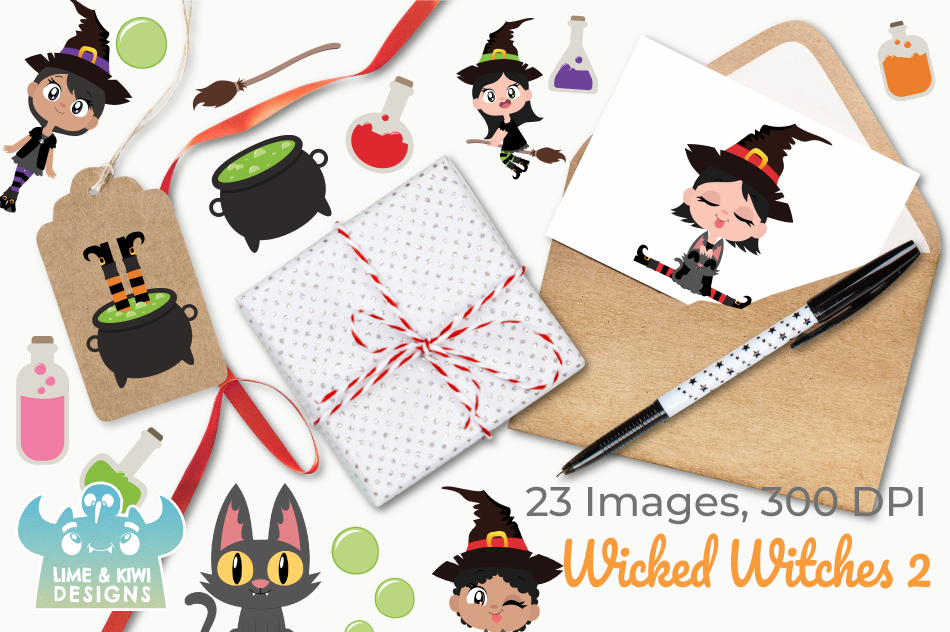 Wicked Witches 2 Clipart, Instant Download Vector Art example image 4