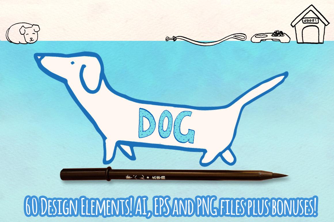 60 Puppy Dog Vector Sketch Graphics Bundle example image 1