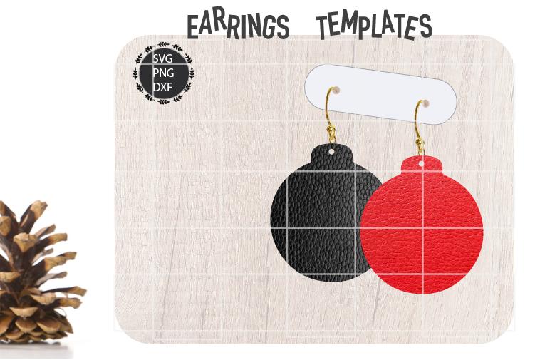 Christmas Bulb Earrings Svg, Christmas Earrings Svg Template example image 1