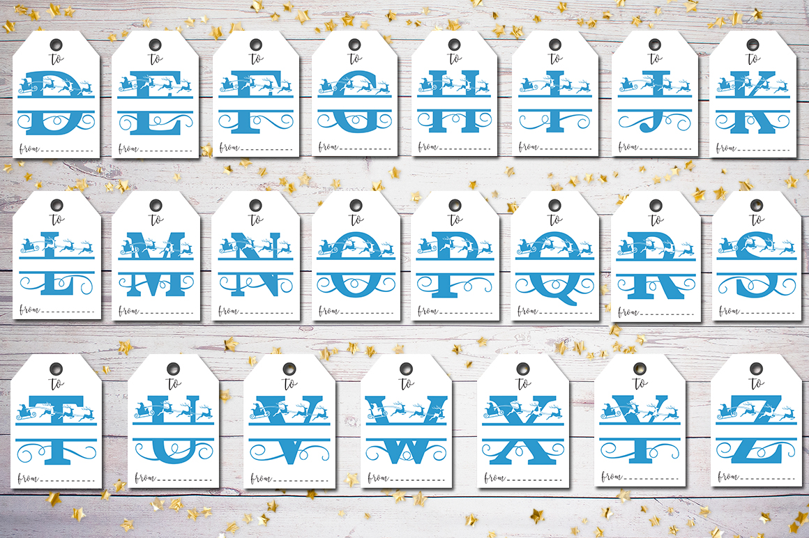 Christmas Monogram Tags- A-Z PNG example image 2