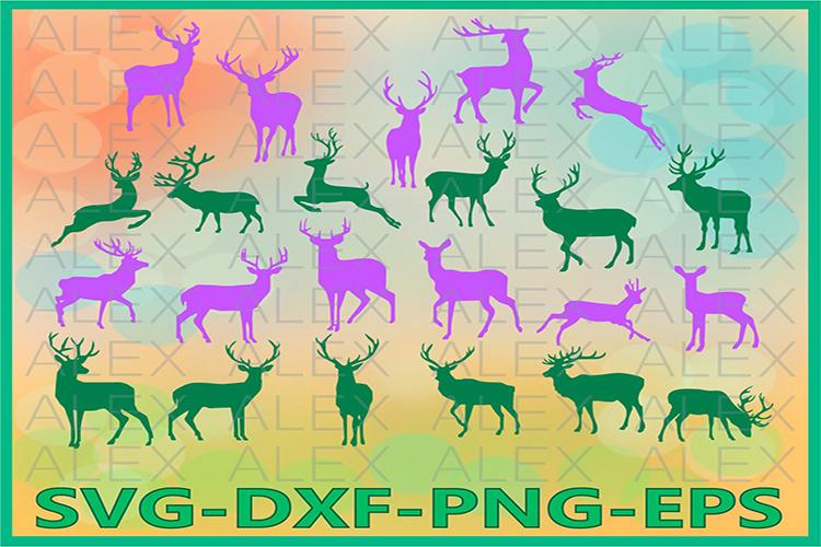 Deer SVG, Deer Silhouette png, Deer Clipart, Animals SVG example image 1