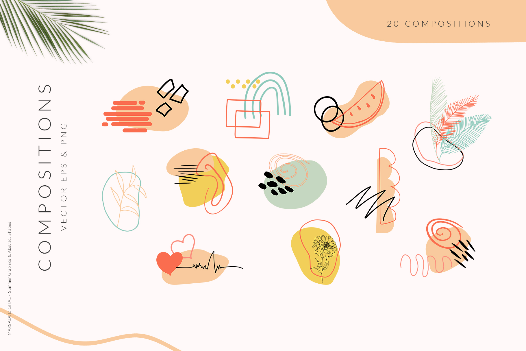 Abstract Shapes & Summer Line Art Vector Cliparts example image 4