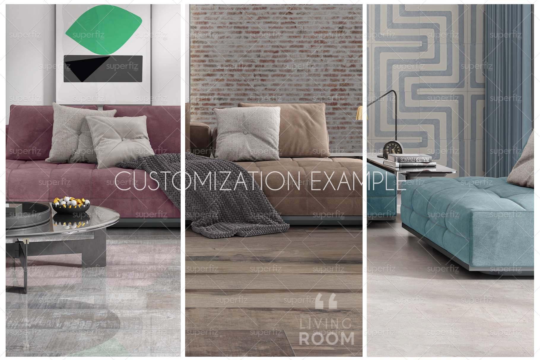 Blank Floor and Wall PSD Mockup Livingroom SM75 example image 8