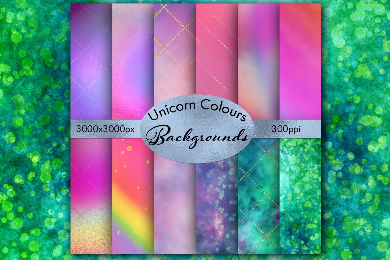 Unicorn Colours Backgrounds - 12 Image Set example image 1