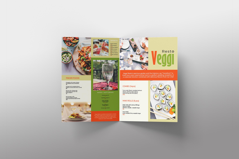 Vegan Menu Bifold Brochure A3 - AI/PSD Templates example image 13