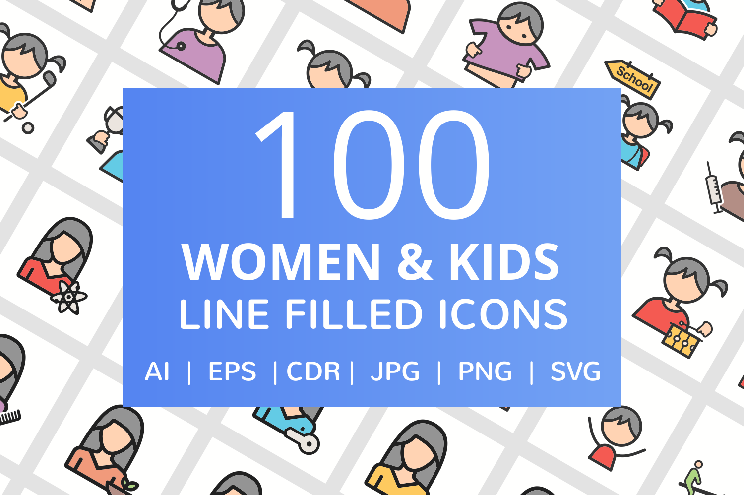 100 Women & Kids Filled Line Icons example image 1