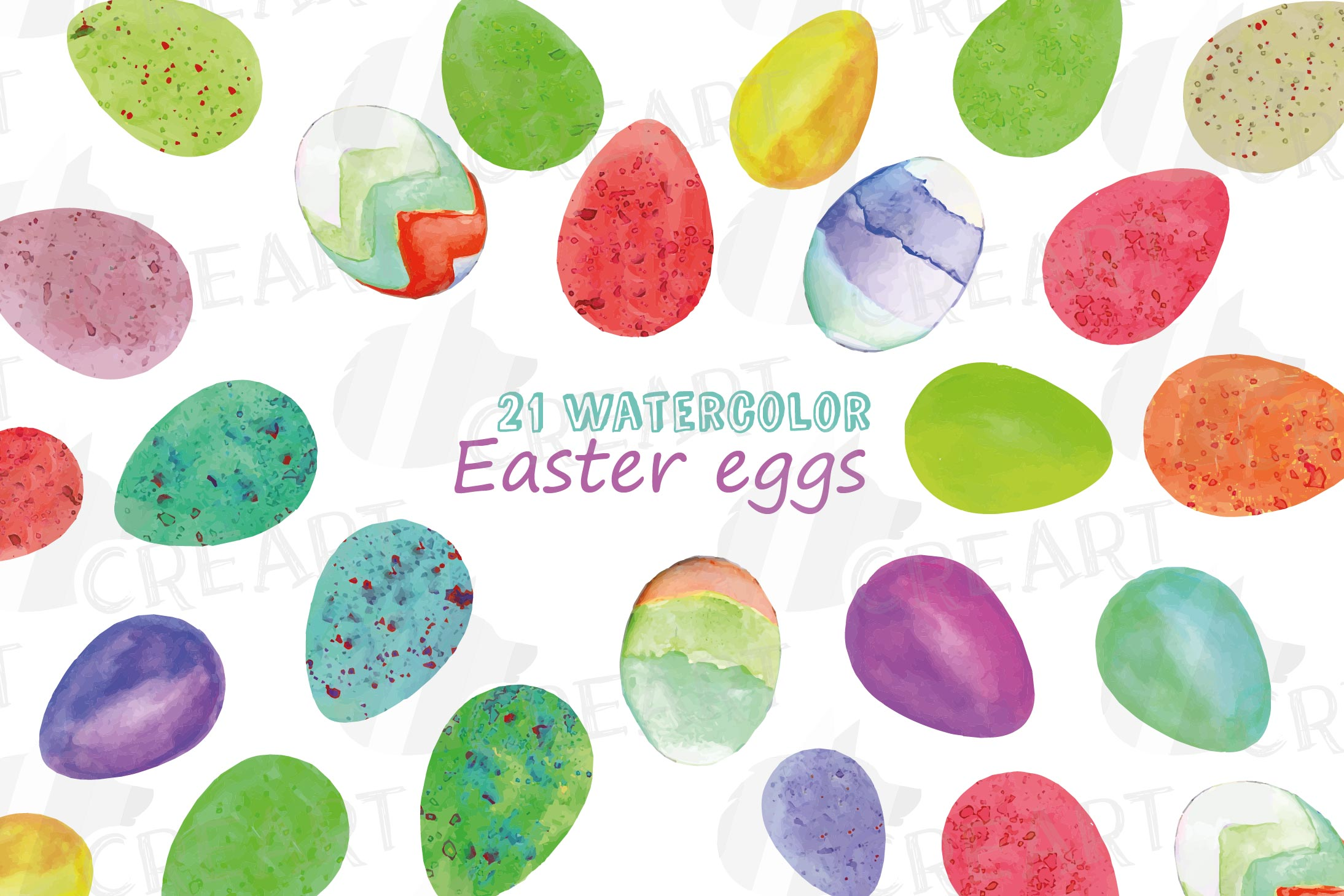 Watercolor Easter eggs colorful clip art pack example image 1