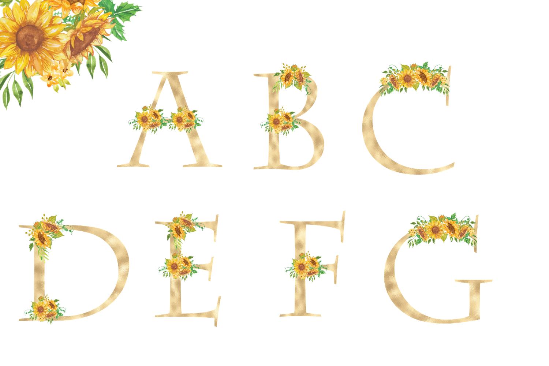 Sunflowers Floral printable alphabet, Gold foil alphabet example image 2