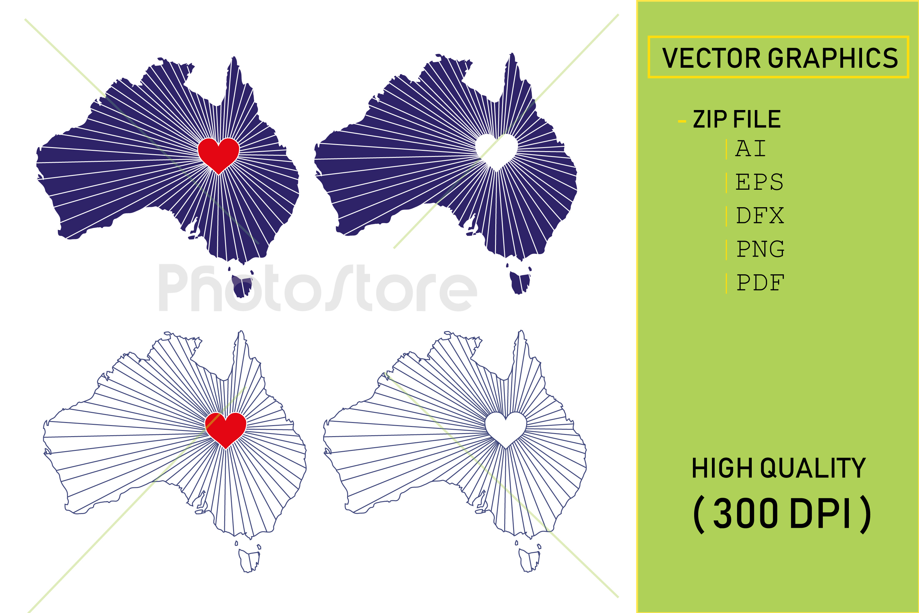 I Love Australia, Country Map Silhouette example image 1