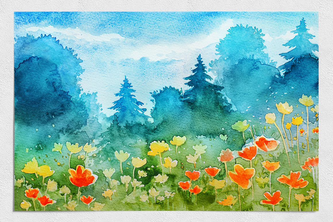Spring Landscapes. Watercolor. example image 11