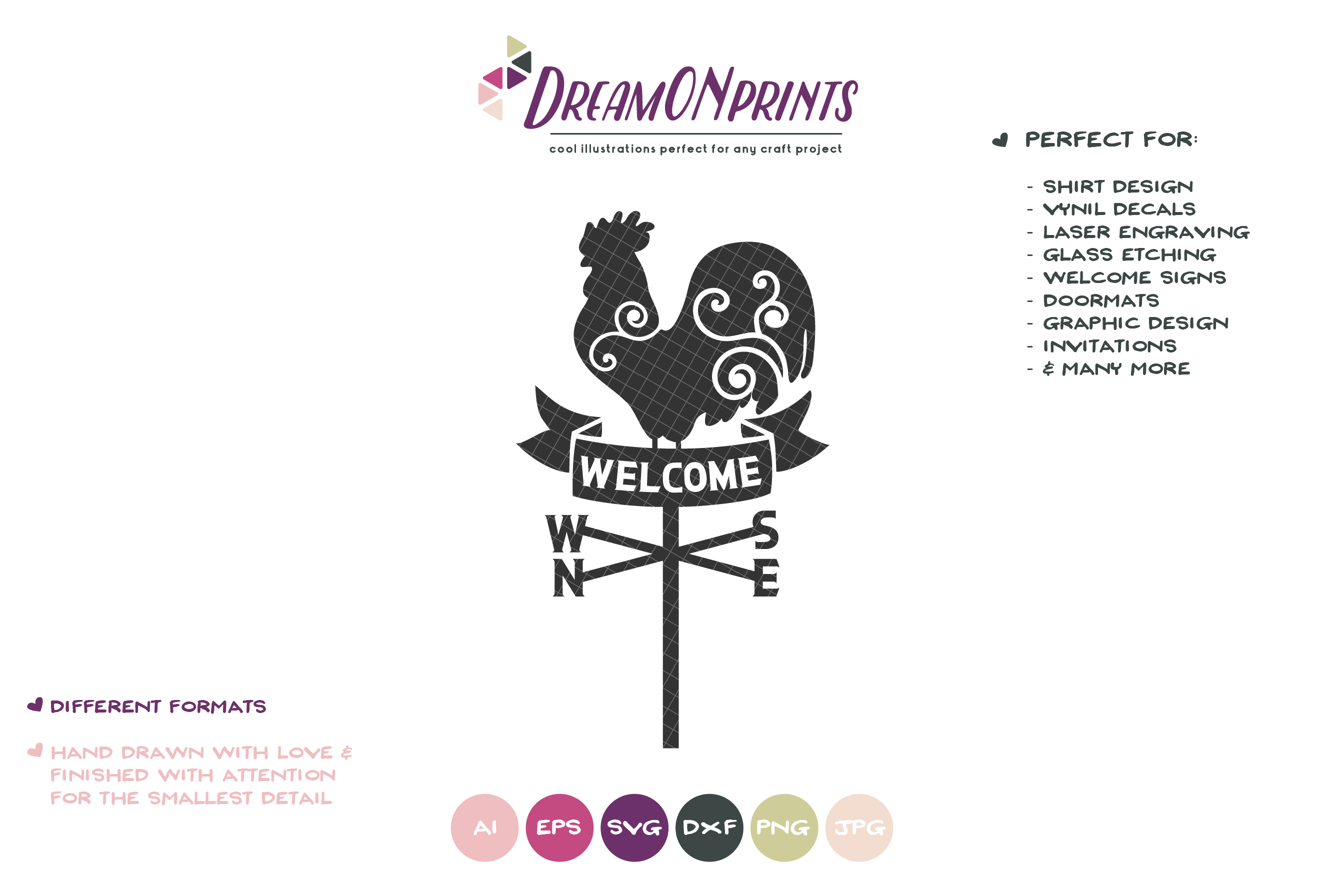 Rooster Wind Compass SVG - Welcome Sing SVG example image 2