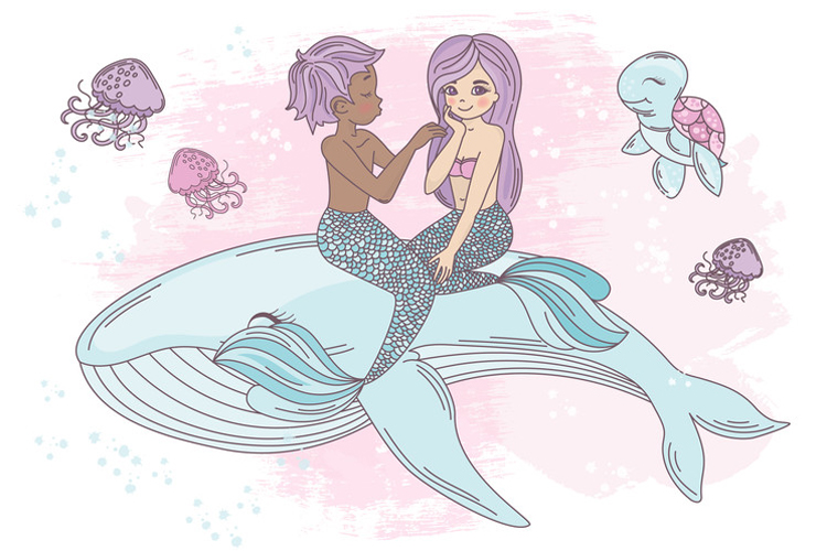 MERMAID IN LOVE Tropical Travel Vector Illustration Set example image 9