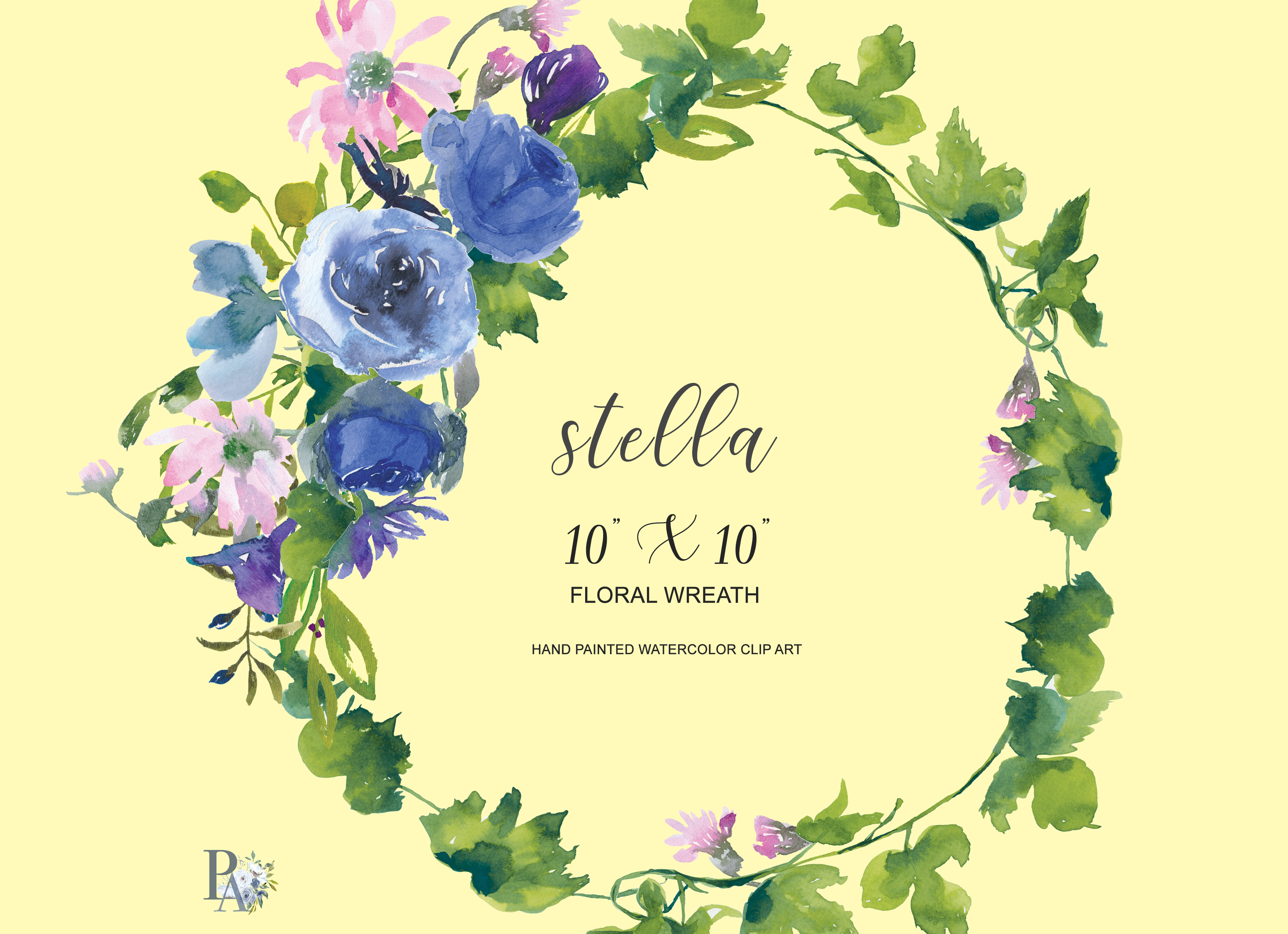 Watercolor sapphire and pink flowers wreath watercolor sapphire and pink flowers wreath example image 3 izmirmasajfo