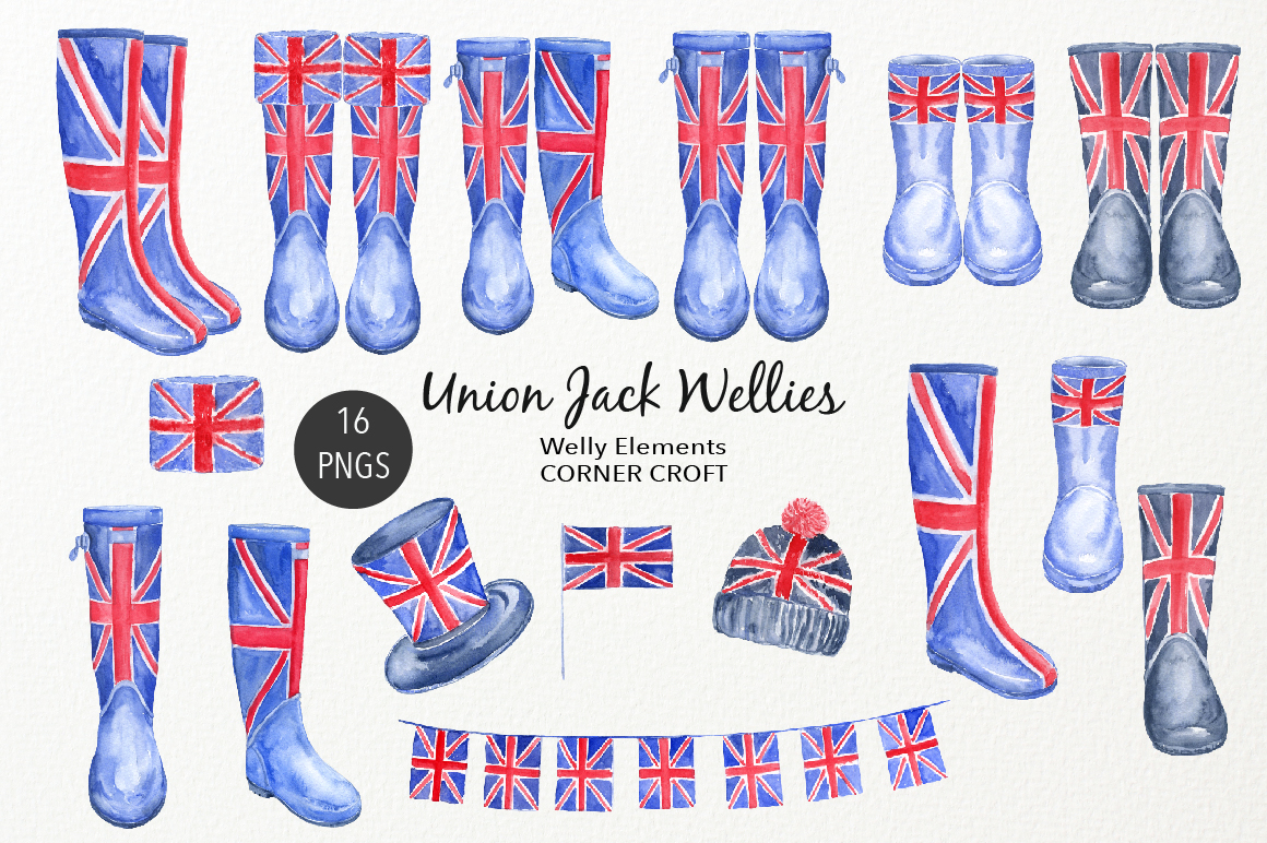 Watercolour Union Jack Welly Illustration, Welly Clipart, Rain Boots  example image 2